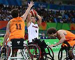 Nik Goncin, Rio 2016 - Wheelchair Basketball // Basketball en fauteuil roulant.<br /> Canadian men's wheelchair basketball team competes in the preliminaries against Netherlands // L'équipe canadienne masculine de basketball en fauteuil roulant participe à la ronde préliminaire contre les Pays-Bas. 09/09/2016.
