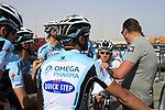Omega Pharma-Quick Step team talk from sports director Wilfried Peeters before the 2nd Stage of the 2012 Tour of Qatar an 11.3km team time trial at Lusail Circuit, Doha, Qatar. 6th February 2012.<br /> (Photo Eoin Clarke/Newsfile)