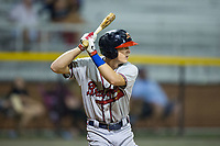 Drew Waters (12) of the Danville Braves at bat against the Burlington Royals at Burlington Athletic Stadium on August 15, 2017 in Burlington, North Carolina.  The Royals defeated the Braves 6-2.  (Brian Westerholt/Four Seam Images)
