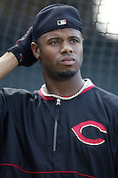 Ken Griffey jr. of the Cincinnati Reds before a 2002 MLB season game against the Los Angeles Angels at Angel Stadium, in Anaheim, California. (Larry Goren/Four Seam Images)