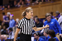 DURHAM, NC - NOVEMBER 17: Game official Dee Kantner during a game between Northwestern University and Duke University at Cameron Indoor Stadium on November 17, 2019 in Durham, North Carolina.