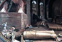 Visual Arts:  Guns--Casting Bronze Cannon. Fresco by B. Poccetti, late XVI century.  Uffizi Museum.