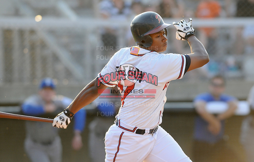 June 19, 2008: Outfielder Mike Elkeron (17) of the Danville Braves, rookie Appalachian League affiliate of the Atlanta Braves, in a game against the Burlington Royals at Dan Daniel Memorial Park in Danville, Va. Photo by:  Tom Priddy/Four Seam Images