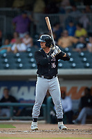 Michael Hickman (16) of the Kannapolis Intimidators at bat against the Augusta GreenJackets at SRG Park on July 6, 2019 in North Augusta, South Carolina. The Intimidators defeated the GreenJackets 9-5. (Brian Westerholt/Four Seam Images)