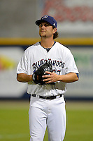 Pensacola Blue Wahoos pitcher Lee Hyde #27 during a game against the Jacksonville Suns on April 15, 2013 at Pensacola Bayfront Stadium in Pensacola, Florida.  Jacksonville defeated Pensacola 1-0 in 11 innings.  (Mike Janes/Four Seam Images)