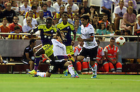 Valencia, Spain. Thursday 19 September 2013<br /> Pictured: Nathan Dyer (L).<br /> Re: UEFA Europa League game against Valencia C.F v Swansea City FC, at the Estadio Mestalla, Spain,