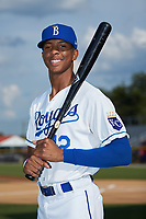 Burlington Royals outfielder Burle Dixon (12) poses for a photo prior to the game against the Danville Braves at Burlington Athletic Stadium on July 13, 2019 in Burlington, North Carolina. The Royals defeated the Braves 5-2. (Brian Westerholt/Four Seam Images)