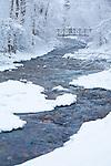 The footbridge across Rattlesnake Creek in Greenough Park on a snowy day in Missoula, Montana