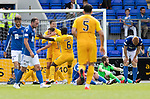 St Johnstone v Livingston….10.08.19      McDiarmid Park     SPFL <br />Steven Lawless celebrates his goal with Lyndon Dykes and Marvin Bartley<br />Picture by Graeme Hart. <br />Copyright Perthshire Picture Agency<br />Tel: 01738 623350  Mobile: 07990 594431