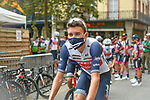 Masked Trek-Segafredo riders make their way to sign on before Stage 2 of the Route d'Occitanie 2020, running 174.5km from Carcassone to Cap Découverte, France. 2nd August 2020. <br /> Picture: Colin Flockton | Cyclefile<br /> <br /> All photos usage must carry mandatory copyright credit (© Cyclefile | Colin Flockton)