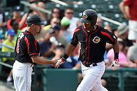 Rochester Red Wings outfielder Wilkin Ramirez (7) is congratulated by manager Gene Glynn (8) after hitting a home run during the first game of a doubleheader against the Buffalo Bisons on July 6, 2014 at Frontier Field in Rochester, New  York.  Rochester defeated Buffalo 6-1.  (Mike Janes/Four Seam Images)