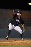 Kannapolis Intimidators relief pitcher Bennett Sousa (27) in action against the Hickory Crawdads at L.P. Frans Stadium on July 20, 2018 in Hickory, North Carolina. The Crawdads defeated the Intimidators 4-1. (Brian Westerholt/Four Seam Images)