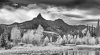 Pilot and Index Peaks tower above an autumn landscape outside of Yellowstone.<br /> <br /> This image is also available in color.