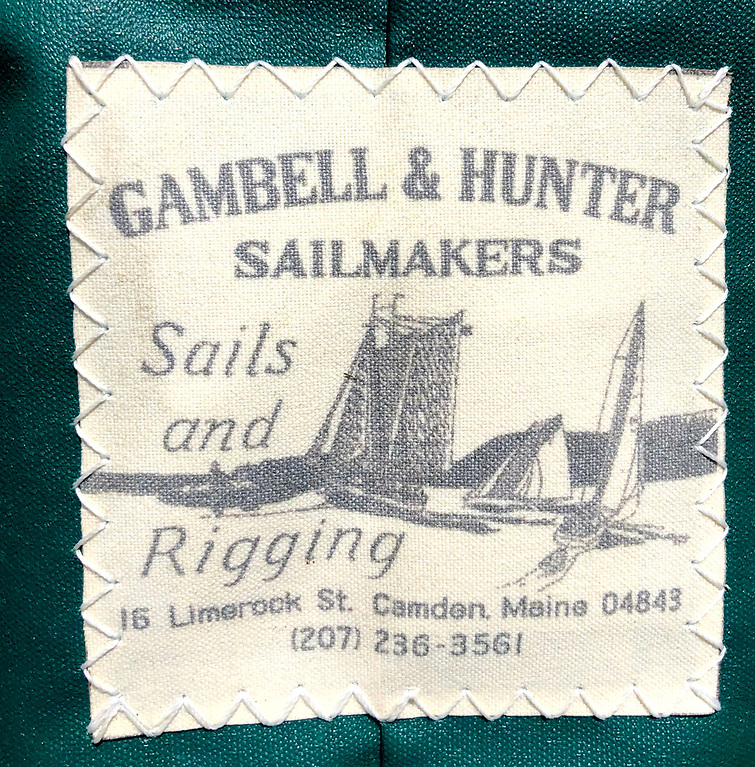 From another era, yet very much of today – the sailmakers' modest label on Mavis's mainsail bag. Photo: Denise Pukas