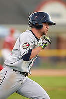 Mahoning Valley Scrappers outfielder Nathan Lukes (39) runs to first during a game against the Batavia Muckdogs on June 23, 2015 at Dwyer Stadium in Batavia, New York.  Mahoning Valley defeated Batavia 11-2.  (Mike Janes/Four Seam Images)