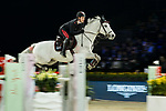Emanuele Gaudiano of Italy riding Einstein competes in the Longines Speed Challenge during the Longines Masters of Hong Kong at AsiaWorld-Expo on 10 February 2018, in Hong Kong, Hong Kong. Photo by Ian Walton / Power Sport Images
