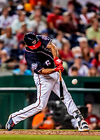 21 September 2018: Washington Nationals third baseman Anthony Rendon gets an RBI single in the bottom of the 9th inning against the New York Mets at Nationals Park in Washington, DC. The Mets defeated the Nationals 4-2 in the second game of their 4-game series. Mandatory Credit: Ed Wolfstein Photo *** RAW (NEF) Image File Available ***