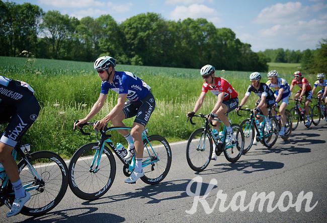 Tom Boonen (BEL/OPQS) in blue (points) paces race leader Tony Martin (DEU/OPQS) in red (overall leader)<br /> <br /> 2014 Belgium Tour<br /> stage 4: Lacs de l'Eau d'Heure - Lacs de l'Eau d'Heure (178km)