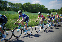 Tom Boonen (BEL/OPQS) in blue (points) paces race leader Tony Martin (DEU/OPQS) in red (overall leader)<br /> <br /> 2014 Belgium Tour<br /> stage 4: Lacs de l'Eau d'Heure - Lacs de l'Eau d'Heure (178km)