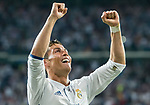 Cristiano Ronaldo of Real Madrid celebrates during their 2016-17 UEFA Champions League Quarter-finals second leg match between Real Madrid and FC Bayern Munich at the Estadio Santiago Bernabeu on 18 April 2017 in Madrid, Spain. Photo by Diego Gonzalez Souto / Power Sport Images