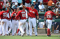 Boston Red Sox catcher Matt Spring (81) is congratulated by teammates including Bryan LaHair (right) after a walk off win during a Spring Training game against the New York Mets on March 16, 2015 at JetBlue Park at Fenway South in Fort Myers, Florida.  Boston defeated New York 4-3.  (Mike Janes/Four Seam Images)