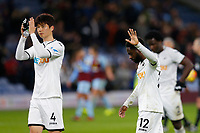 Nathan Dyer of Swansea City holds his hand up towards the fans following the Premier League match between Burnley and Swansea City at Turf Moor, Burnley, England, UK. Saturday 18 November 2017