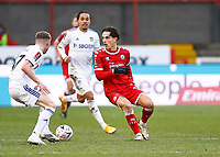10th January 2021; Broadfield Stadium, Crawley, Sussex, England; English FA Cup Football, Crawley Town versus Leeds United; Tom Nichols of Crawley looking for space past Jack Jenkins of Leeds united