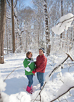 Couple walking in a Winter Forest, Lumberton, New Jersey