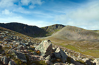 Coire an t-Sneachda, The Northern Corries and Cairn Lochain from Fiacaill a' Choire Chais, Cairngorm National Park, Badenoch and Speyside, Highland