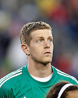 Philadelphia Union goalkeeper Zac MacMath (18).In a Major League Soccer (MLS) match, the New England Revolution (blue/red) defeated Philadelphia Union (blue/white), 2-0, at Gillette Stadium on April 27, 2013.