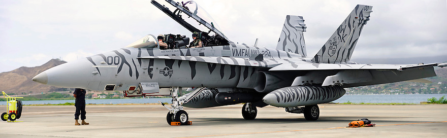 RIMPAC 2010 Photographs.  F/A 18  224 Bengels preparing for take-off from Marine Corps Base Hawaii