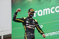 11th October 2020, Nuerburgring, Nuerburg, Germany; FIA Formula 1 Eifel Grand Prix, Race Day;  3 Daniel Ricciardo AUS, Renault DP World F1 Team on podium for 3rd place