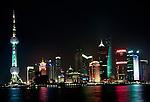 Skyline of Shanghai, China at night.