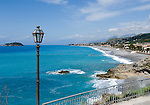 Italy, Calabria, view from San Nicola at beach resort Praia a Mare at Riviera dei Cedri
