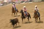 A judge watches as two cowboys team rope a steer, Jordan Valley Big Loop Rodeo, Ore..