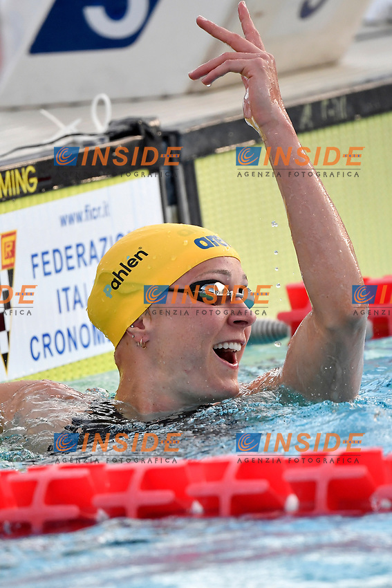 Sarah Sjostrom of Sweden celebrates after competing in the women 50m butterfly during the 58th Sette Colli Trophy International Swimming Championships at Foro Italico in Rome, June 25th, 2021. Sarah Sjostrom placed first.<br /> Photo Andrea Staccioli/Insidefoto/Deepbluemedia