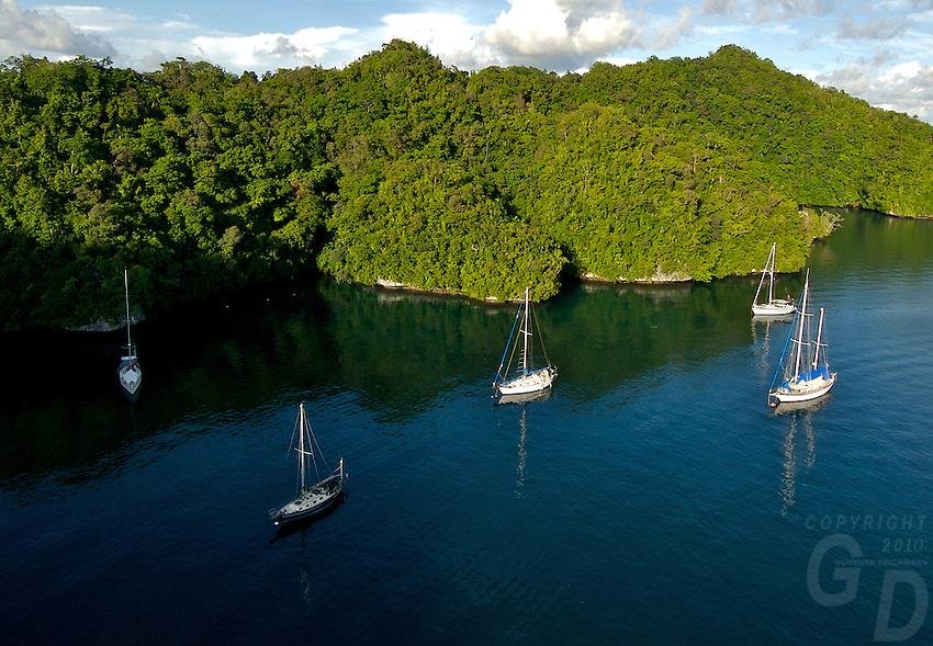 Sailing Boats, Yachts at the Palalu Yacht Club area, Aerial Rock Islands, Palau