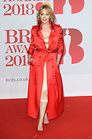 Kylie Minogue<br /> arriving for the BRIT Awards 2018 at the O2 Arena, Greenwich, Leicester Square, London<br /> <br /> ©Ash Knotek  D3383  21/02/2018<br /> <br /> *photos for editorial use only in connection with the BRITs*