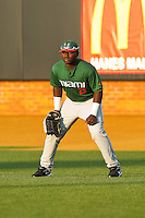 Right fielder Chantz Mack #2 of the Miami Hurricanes on defense against the Wake Forest Demon Deacons at Gene Hooks Field on March 18, 2011 in Winston-Salem, North Carolina.  Photo by Brian Westerholt / Four Seam Images