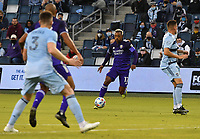 KANSAS CITY, KS - APRIL 23: Nani #17 of Orlando City SC drives upfield in a congested midfield during a game between Orlando City SC and Sporting Kansas City at Children's Mercy Park on April 23, 2021 in Kansas City, Kansas.
