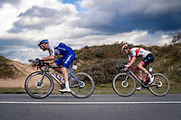 (eventual race winner) Yves Lampaert (BEL/Deceuninck-QuickStep) & Sven Erik Bystrøm (NOR/UAE-Emirates)<br /> <br /> 44th AG Driedaagse Brugge-De Panne 2020 (1.UWT / BEL)<br /> 1 day race from Brugge to De Panne (203km shortened to 188km due to the windy weather conditions) <br /> <br /> ©kramon