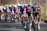 Belgian National Champion Dries De Bondt (BEL/Alpecin-Fenix) setting the pace for Dutch Road Champion & team leader Mathieu Van der Poel (NED/Alpecin-Fenix)<br /> <br /> 53rd Le Samyn 2021<br /> ME (1.1)<br /> 1 day race from Quaregnon to Dour (BEL/205km)<br /> <br /> ©kramon