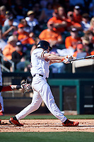 Oregon State Beavers Alex McGarry (44) hits a home run during an NCAA game against the New Mexico Lobos at Surprise Stadium on February 14, 2020 in Surprise, Arizona. (Zachary Lucy / Four Seam Images)