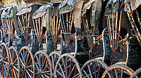 A stack of old Rickshaws, Kolkata, West Bengal, India