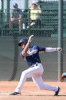 Felipe Blanco #20 of the San Diego Padres bats during a Minor League Spring Training Game against the Kansas City Royals at the Kansas City Royals Spring Training Complex on March 26, 2014 in Surprise, Arizona. (Larry Goren/Four Seam Images)