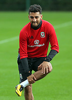 Pictured: Neil Taylor warms up. Monday 02 October 2017<br /> Re: Wales football training, ahead of their FIFA Word Cup 2018 qualifier against Georgia, Vale Resort, near Cardiff, Wales, UK.