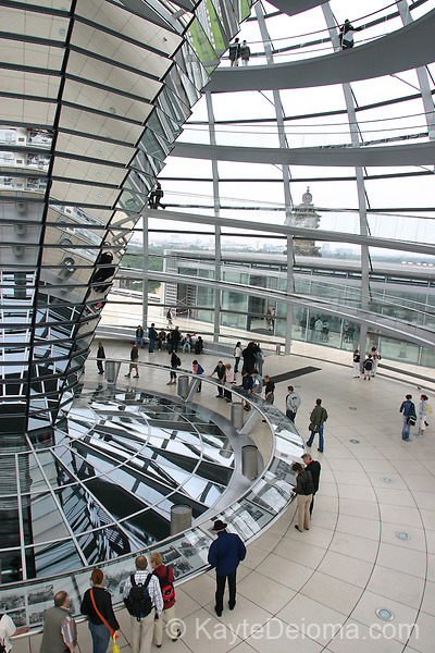 The Reichstag glass dome, designed by British architect Sir Norman Foster, was added to the parliament building in 1999.  Berlin, Germany