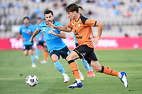 20th February 2021; Jubilee Stadium, Sydney, New South Wales, Australia; A League Football, Sydney FC versus Brisbane Roar; Kai Trewin of Brisbane Roar runs with the ball as Kosta Barbarouses of Sydney covers