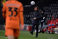 Andrea Pirlo coach of Juventus FC kicks the ball during the Serie A football match between Udinese Calcio and Juventus FC at Friuli Stadium in Udine (Italy), May 2nd, 2020. Photo Federico Tardito / Insidefoto