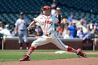 Pitcher / Outfielder Alex Verdugo (11) of Sahuaro High School in Tucson, Arizona during the Under Armour All-American Game on August 24, 2013 at Wrigley Field in Chicago, Illinois.  (Mike Janes/Four Seam Images)